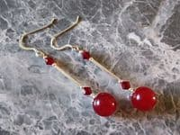 Red Jade Earrings With Swarovski Crystals & Sterling Silver Tubes | Silver Sensations
